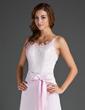Sheath/Column Scoop Neck Floor-Length Satin Lace Bridesmaid Dress With Bow(s) (007015500)