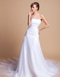 A-Line/Princess Strapless Chapel Train Satin Organza Wedding Dress With Ruffle Lace Beading (002001278)
