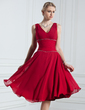 A-Line/Princess V-neck Knee-Length Chiffon Holiday Dress With Ruffle Beading (020039561)