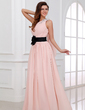 A-Line/Princess One-Shoulder Floor-Length Chiffon Holiday Dress With Ruffle Sash Beading (020017306)