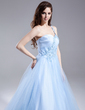 Ball-Gown One-Shoulder Floor-Length Tulle Quinceanera Dress With Ruffle Beading Appliques Lace (021015868)