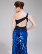 Trumpet/Mermaid One-Shoulder Court Train Sequined Prom Dress With Sash Beading (018018917)
