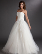 Ball-Gown Strapless Floor-Length Tulle Quinceanera Dress With Beading Appliques Lace (021016764)