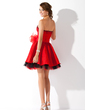 A-Line/Princess Sweetheart Short/Mini Taffeta Homecoming Dress With Beading Bow(s) (022009085)