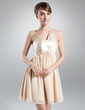 Empire One-Shoulder Short/Mini Chiffon Charmeuse Bridesmaid Dress With Ruffle (022020833)