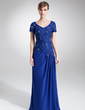 A-Line/Princess V-neck Sweep Train Chiffon Lace Mother of the Bride Dress With Beading Sequins (008006160)