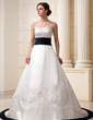 A-Line/Princess Strapless Chapel Train Satin Wedding Dress With Embroidered Sash Beading (002011540)