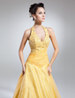 Ball-Gown Halter Floor-Length Organza Prom Dress With Ruffle Beading Sequins (018015051)