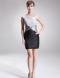Sheath/Column Scoop Neck Short/Mini Charmeuse Cocktail Dress With Ruffle Beading (016008754)