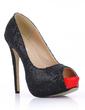 Sparkling Glitter Stiletto Heel Sandals Platform Peep Toe shoes (085022628)