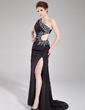 Sheath/Column One-Shoulder Sweep Train Chiffon Prom Dress With Ruffle Beading Sequins Split Front (018018828)