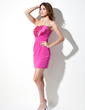 Sheath/Column Scalloped Neck Short/Mini Chiffon Satin Cocktail Dress With Ruffle (016020951)