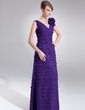 A-Line/Princess V-neck Floor-Length Chiffon Mother of the Bride Dress With Flower(s) (008006301)