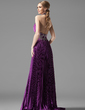 A-Line/Princess Halter Sweep Train Charmeuse Evening Dress With Beading Pleated (017002268)