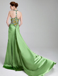 Trumpet/Mermaid Sweetheart Watteau Train Charmeuse Prom Dress With Ruffle Beading Split Front (018019575)