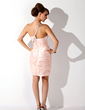 Sheath/Column One-Shoulder Short/Mini Charmeuse Cocktail Dress With Ruffle Beading (016021231)