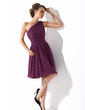 Chiffon One-shoulder Knee-length Bridesmaid Dress (007000918)