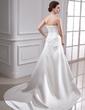 Corte A/Princesa Estrapless Cola capilla Satén Vestido de novia con Volantes Bordado Los appliques Encaje (002000449)