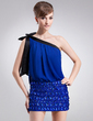 Sheath/Column One-Shoulder Short/Mini Chiffon Cocktail Dress With Lace Sash Beading Bow(s) (016008428)