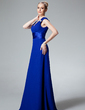 A-Line/Princess V-neck Floor-Length Chiffon Charmeuse Bridesmaid Dress With Ruffle Beading (007000925)