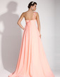 Empire One-Shoulder Sweep Train Chiffon Holiday Dress With Ruffle Beading Appliques Lace (020016072)