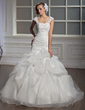 Trumpet/Mermaid Sweetheart Chapel Train Satin Organza Wedding Dress With Ruffle Lace Beading Sequins (002004534)