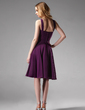 A-Line/Princess V-neck Knee-Length Chiffon Bridesmaid Dress With Ruffle Flower(s) (007004170)