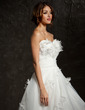Ball-Gown Sweetheart Court Train Tulle Wedding Dress With Ruffle Flower(s) (002011727)
