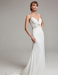 A-Line/Princess Halter Court Train Chiffon Wedding Dress With Ruffle Beading Sequins (002001676)