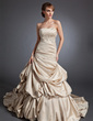 A-Line/Princess Sweetheart Chapel Train Satin Wedding Dress With Ruffle Beading Appliques Lace (002015110)