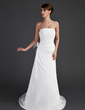 A-Line/Princess Strapless Court Train Chiffon Wedding Dress With Ruffle Lace Beading Feather (002011443)