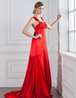 Empire Scoop Neck Watteau Train Charmeuse Evening Dress With Ruffle Beading (017002272)