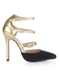 Suede Patent Leather Stiletto Heel Pumps Closed Toe With Buckle shoes (085026436)
