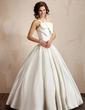 Balklänning V-ringning Golvlång Satäng Bröllopsklänning med Rufsar Rosett/-er (002001192)