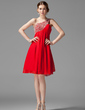 Imperialna Jednoramienna Do Kolan Chiffon Sukienka na Zjazd Absolwentów Z Żabot Perełki Cekiny (022004455)