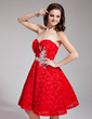 A-Line/Princess Sweetheart Knee-Length Lace Prom Dress With Beading Flower(s) (018019111)
