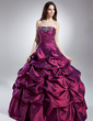 Ball-Gown Strapless Floor-Length Taffeta Quinceanera Dress With Ruffle Beading (021015621)