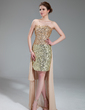 Sheath/Column Strapless Asymmetrical Sequined Prom Dress With Beading (018018895)