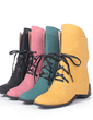 Leatherette Chunky Heel Ankle Boots With Lace-up shoes (088054635)