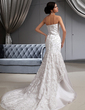 Trumpet/Mermaid Strapless Chapel Train Lace Wedding Dress With Beading (002022658)