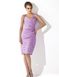 Sheath/Column Sweetheart Knee-Length Satin Mother of the Bride Dress With Ruffle Beading (008006163)