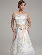 A-Line/Princess Sweetheart Knee-Length Lace Wedding Dress With Sash Bow(s) (002000174)