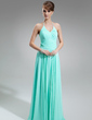 A-Line/Princess Halter Floor-Length Chiffon Bridesmaid Dress With Ruffle (007001756)