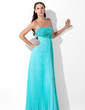 A-Line/Princess Strapless Floor-Length Chiffon Evening Dress With Sequins Bow(s) Pleated (017013100)