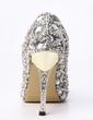 Women's Satin Cone Heel Closed Toe Platform Pumps With Rhinestone Crystal Heel (047033927)