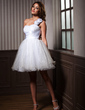 A-Line/Princess One-Shoulder Knee-Length Organza Homecoming Dress With Ruffle Flower(s) (022020978)
