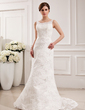 Trumpet/Mermaid Scoop Neck Court Train Lace Wedding Dress (002019532)