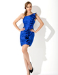 Sheath/Column One-Shoulder Short/Mini Charmeuse Cocktail Dress With Ruffle (016020967)