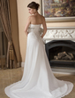 A-Line/Princess Sweetheart Court Train Chiffon Wedding Dress With Ruffle Beading Sequins (002000105)