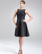 A-Line/Princess Scoop Neck Knee-Length Satin Lace Cocktail Dress With Bow(s) (016021198)